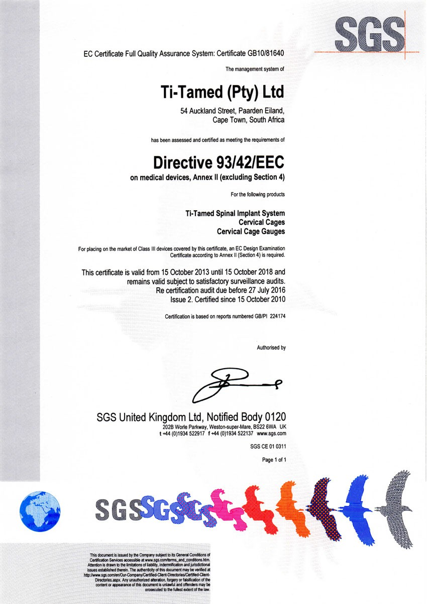 Certification titamed spinal system ce certificate 1betcityfo Choice Image