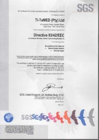 Spinal System CE Certificate